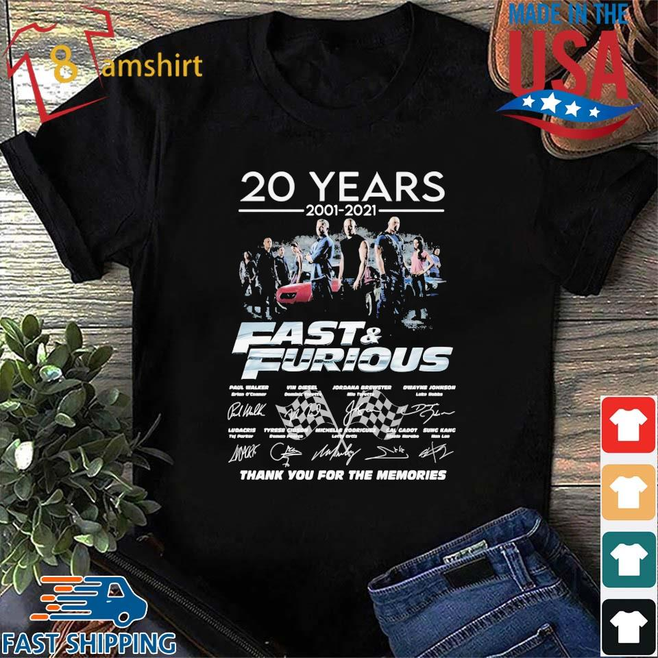 20 years 2001-2021 Fast And Furious thank you for the memories signatures shirt