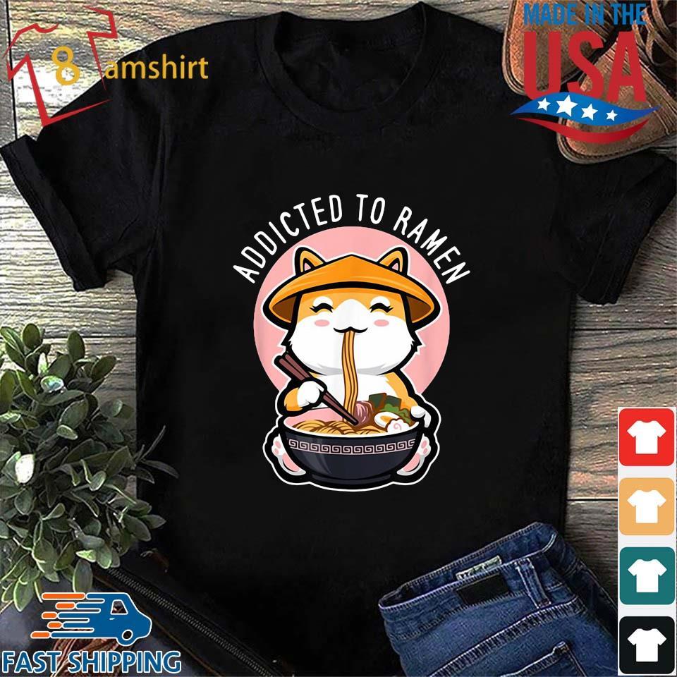 Cat eating addicted to ramen shirt