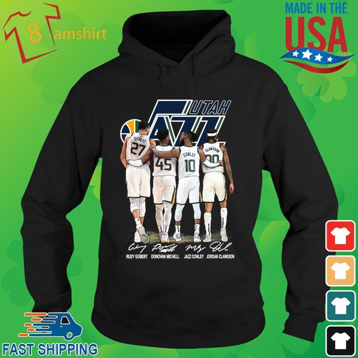 Utah Jazz Rudy Gobert Donovan Mitchell signatures hoodie den