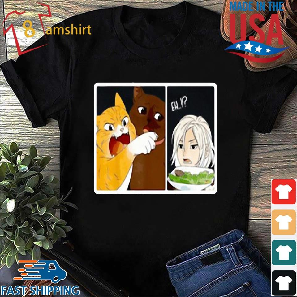 Madoka Yelling And Garfield Woman Cat Meme Shirt Sweater Hoodie And Long Sleeved Ladies Tank Top