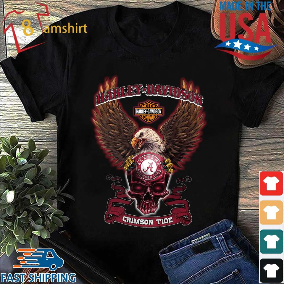 Harley Davidson Skull Alabama Crimson Tide Shirt