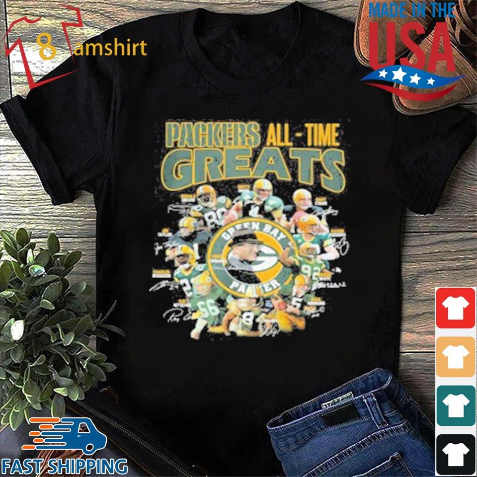 Green Bay Packers All Time Greats Players Signatures T-Shirt