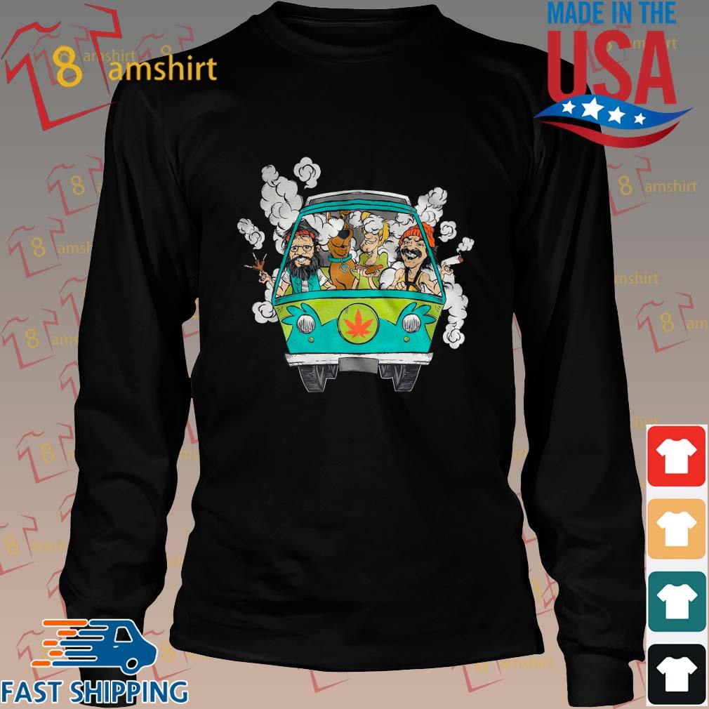 Peace Car Scooby Doo And Hippie Old Man Smoking Weed Shirts Long den