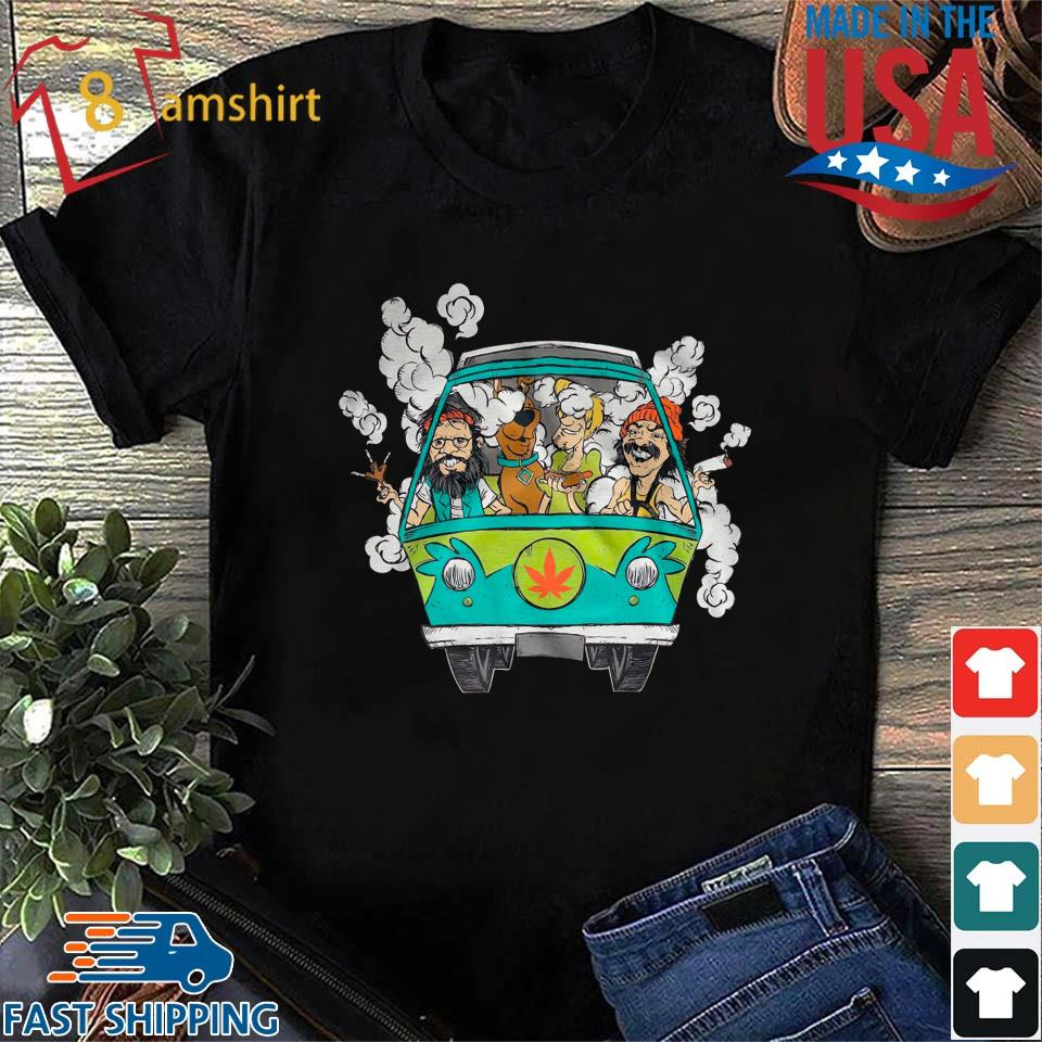 Peace Car Scooby Doo And Hippie Old Man Smoking Weed Shirts