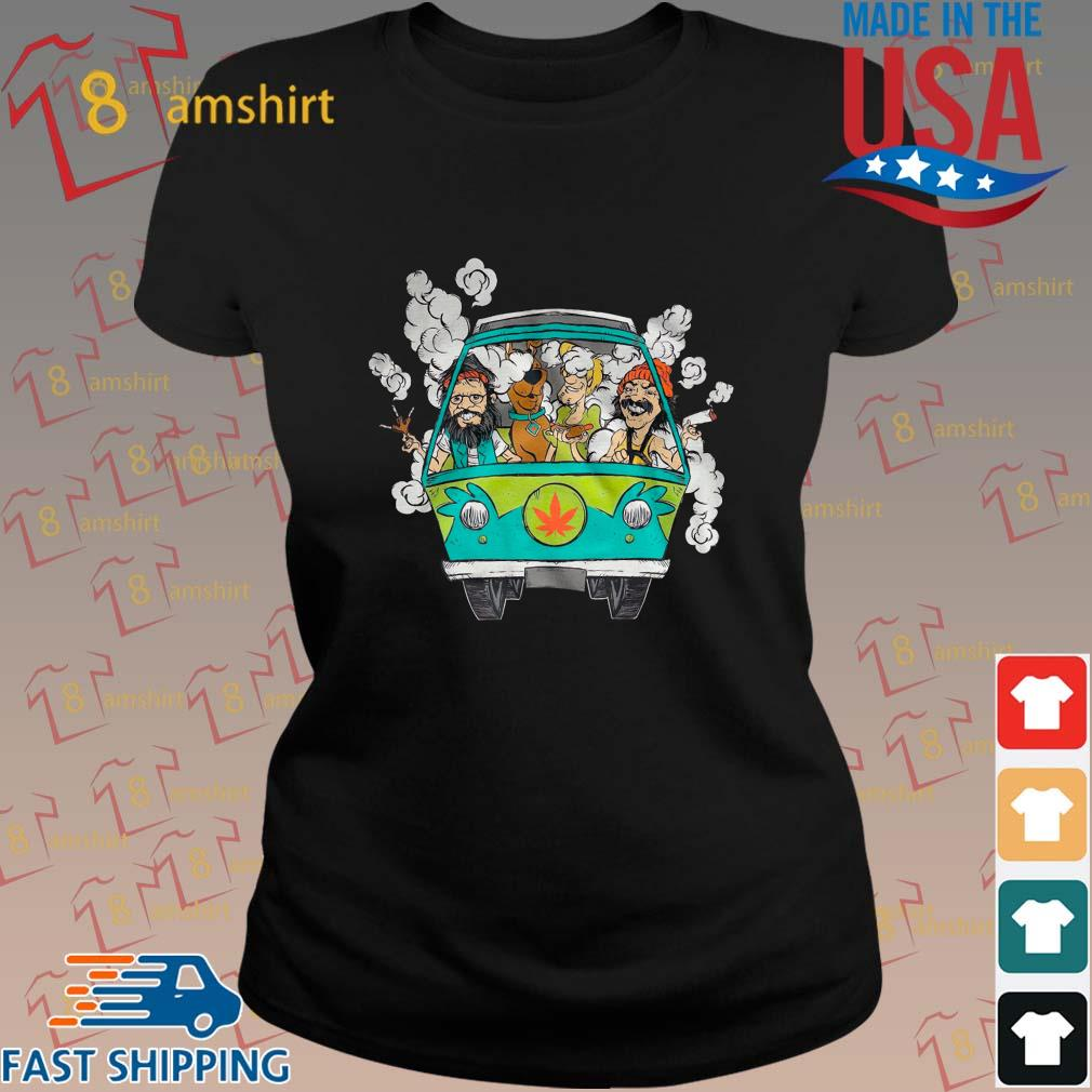 Peace Car Scooby Doo And Hippie Old Man Smoking Weed Shirts ladies den
