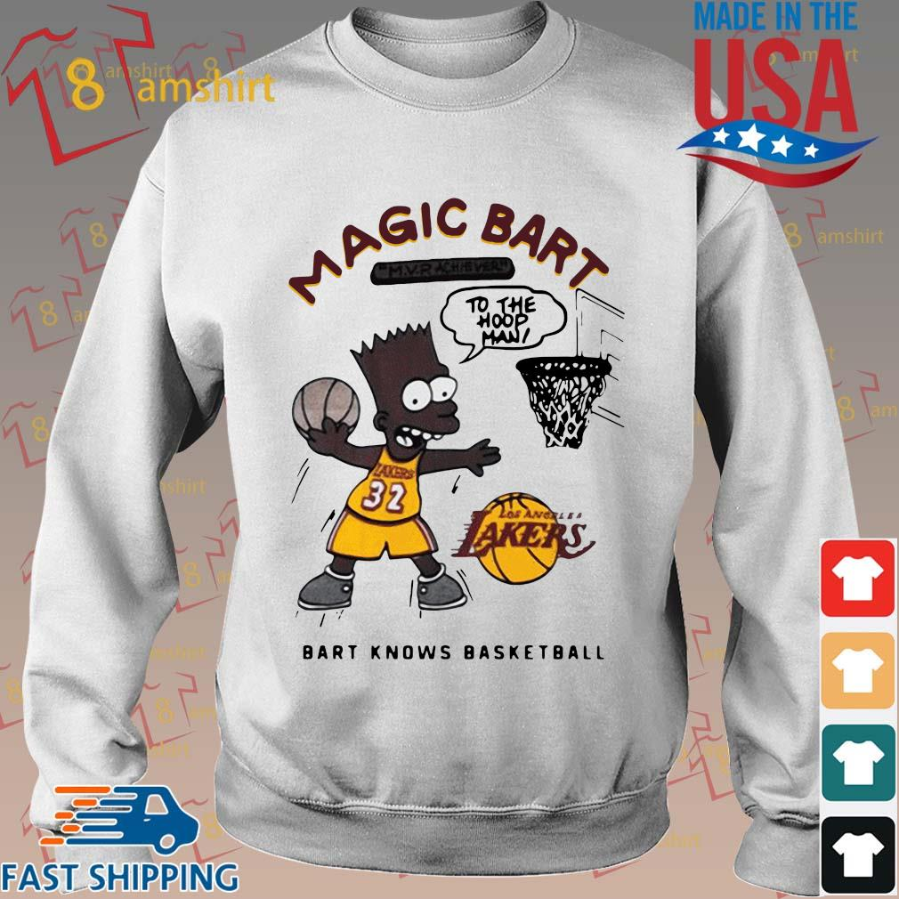 The Simpsons Los Angeles Lakers Magic Bart to the hoop man bart knows basketball shirt