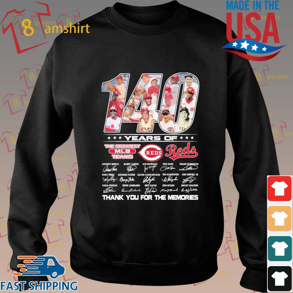 140 years of Cincinnati Reds the greatest MLB teams thank you for the memories signatures s Sweater den