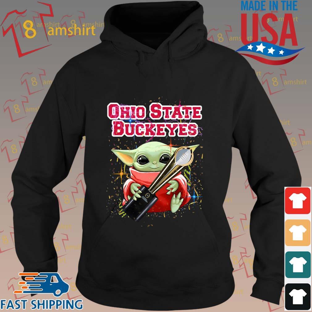 Baby Yoda Hug National Championship Ohio State Buckeyes T-Shirt hoodie den