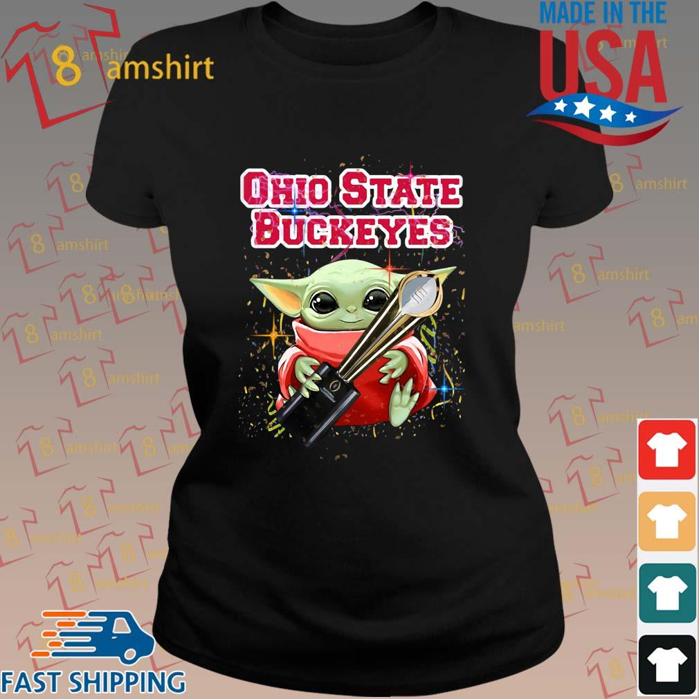 Baby Yoda Hug National Championship Ohio State Buckeyes T-Shirt ladies den