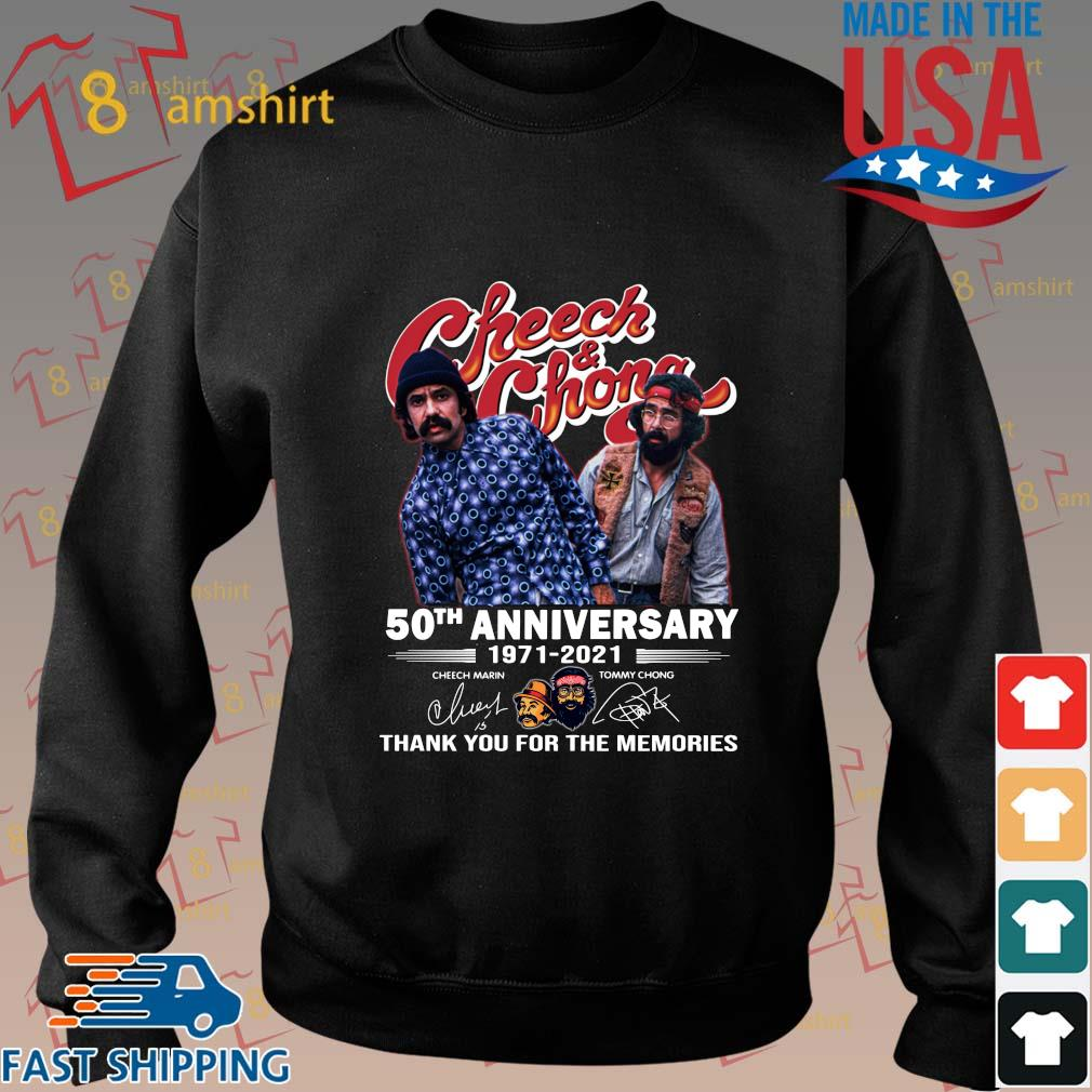 Cheech And Chong 50th anniversary 1971-2021 thank you for the memories signatures tee shirt