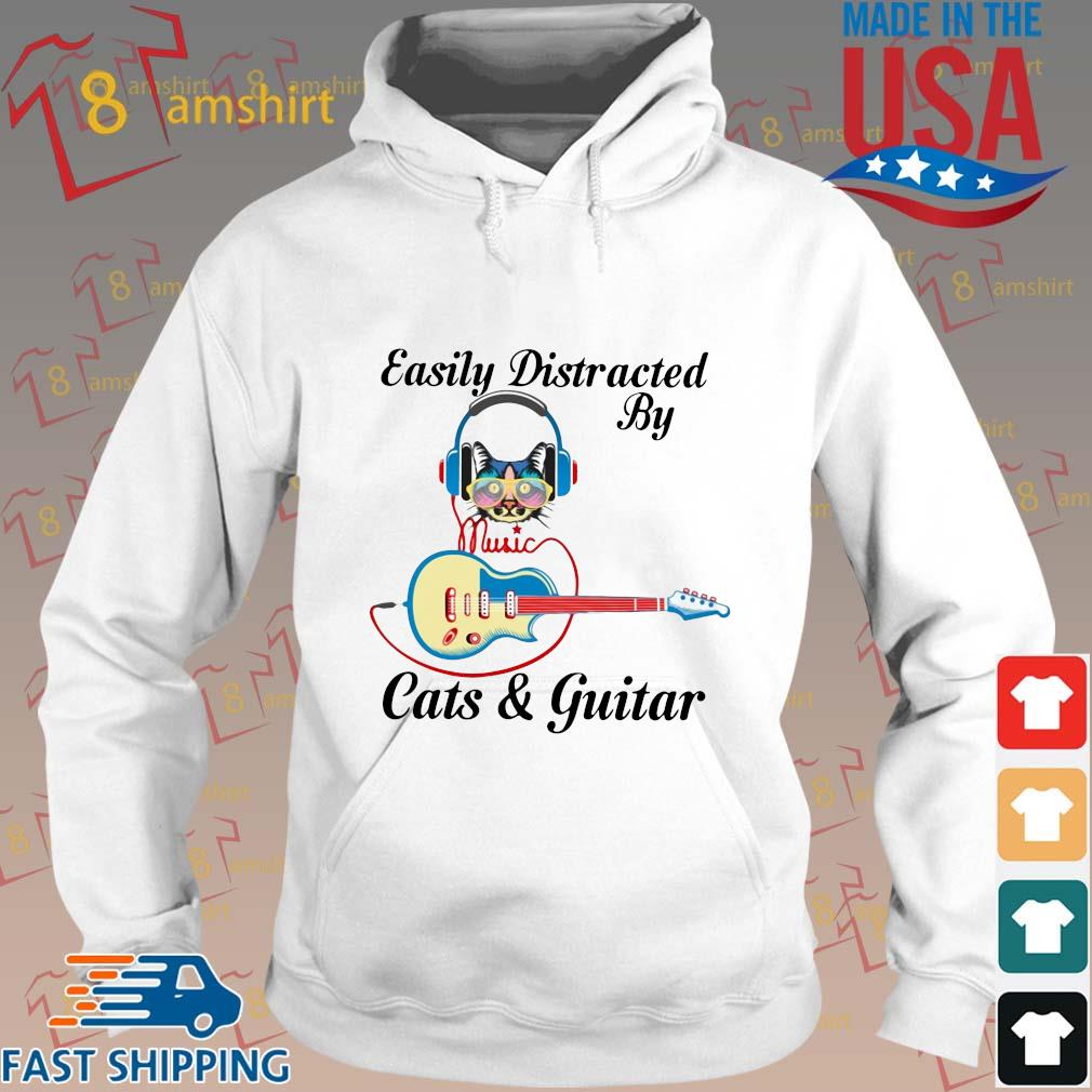 Easily distracted by music cats and guitar s Hoodie trang