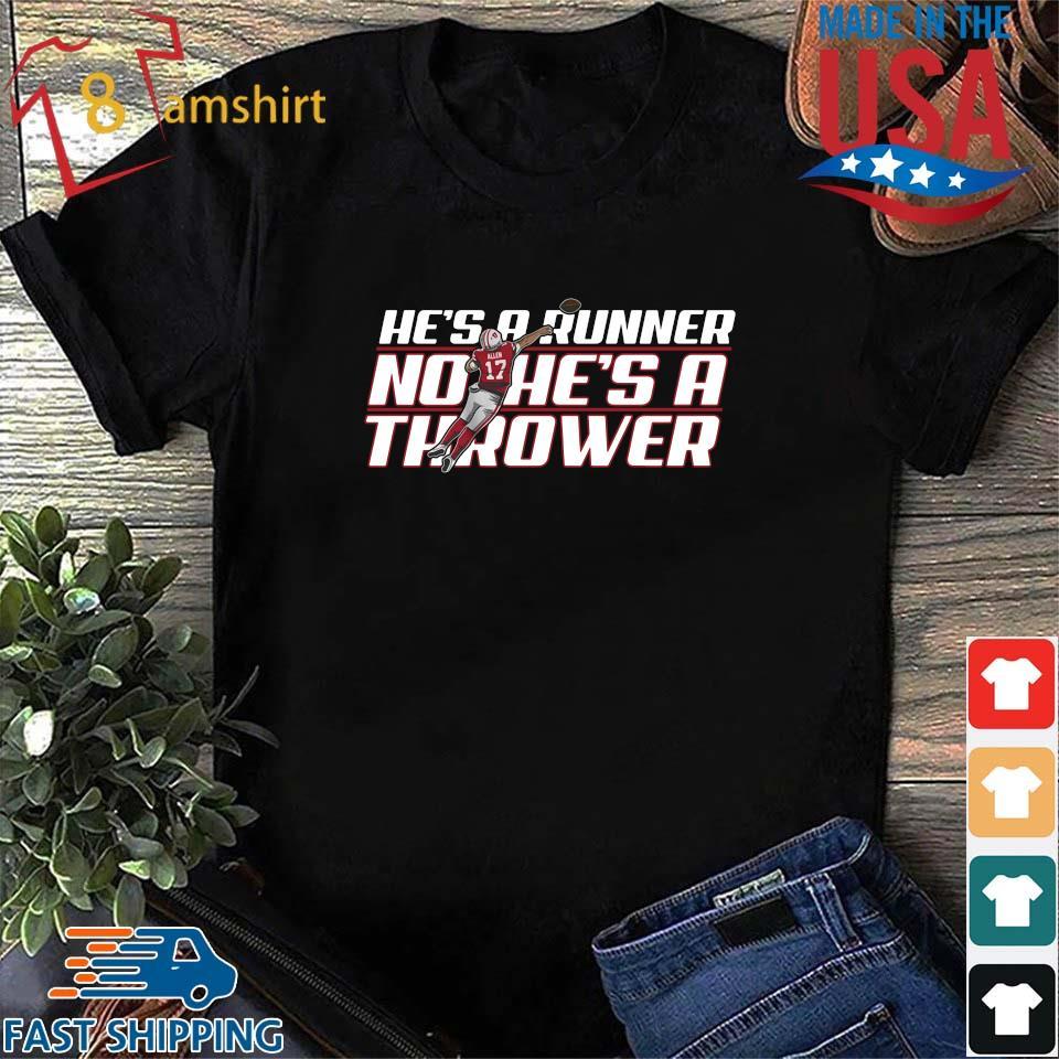 Funny he's a runner no he's a thrower s Shirt den