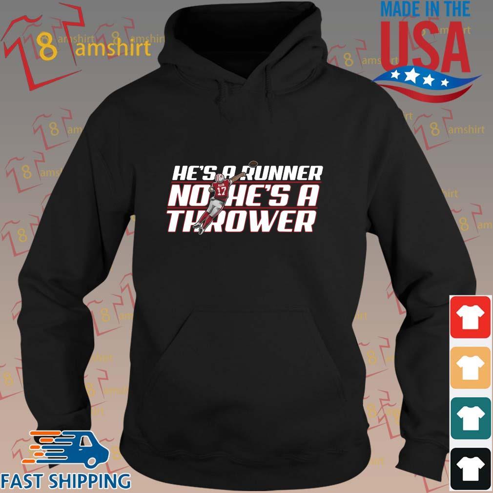 Funny he's a runner no he's a thrower s hoodie den