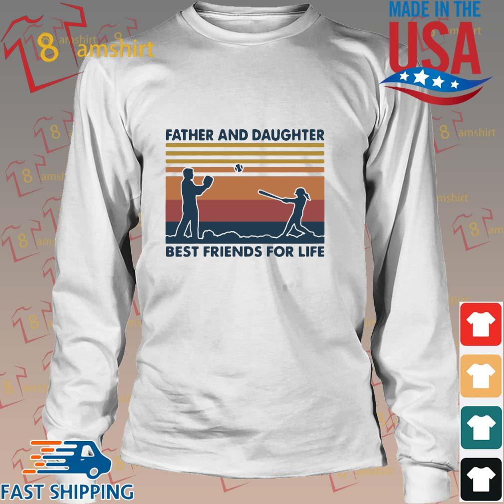 Funny Softball Father And Daughter Best Friends For Life Vintage Shirt Long trang