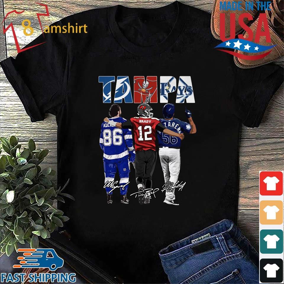 Funny Tampa Tampa Bay Lightning Tampa Bay Buccaneers Tampa Bay Rays Nikita Kucherov Tom Brady Randy Arozarena signatures shirt