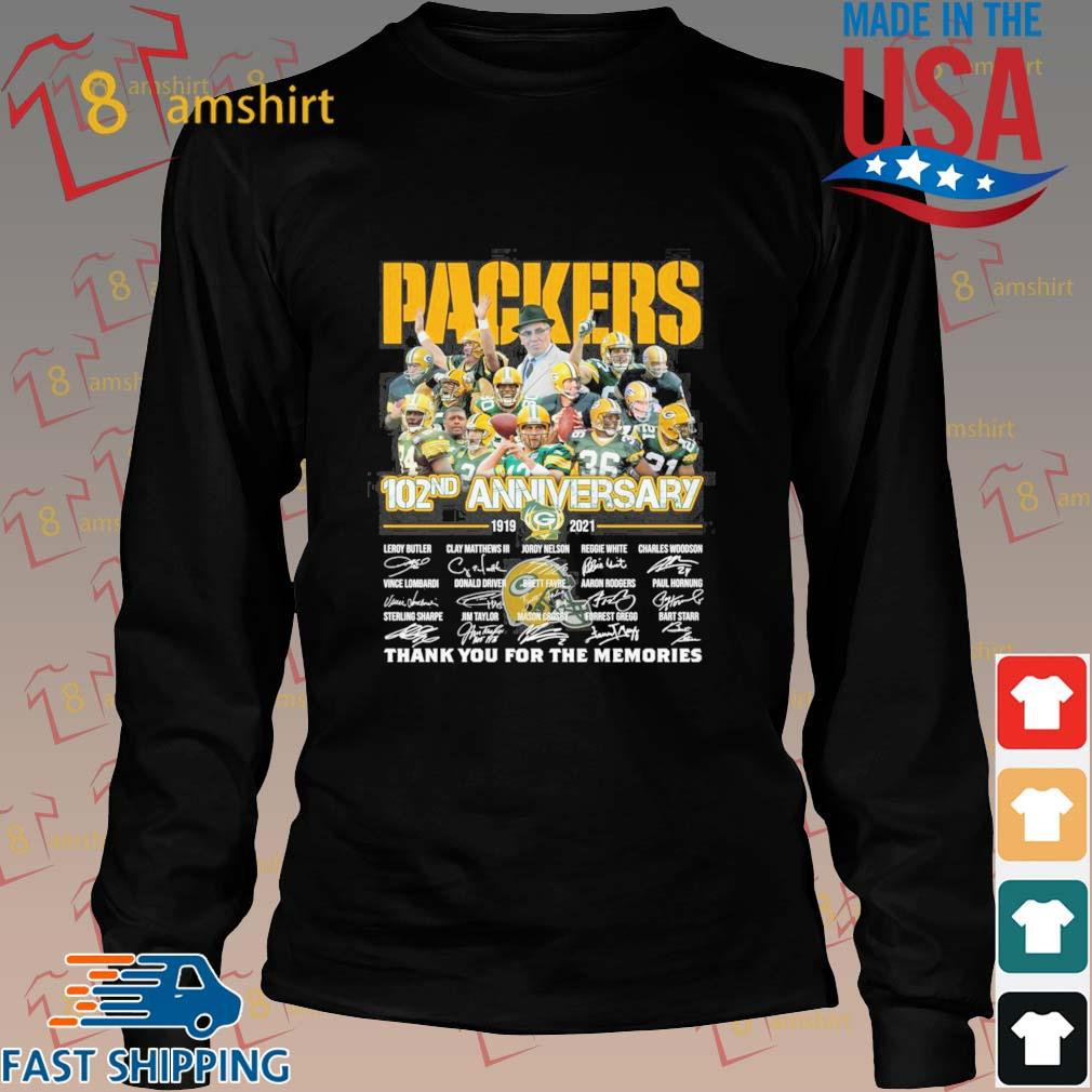 Green Bay Packers 102nd anniversary 1919 2021 thank you for the memories signatures tee s Long den