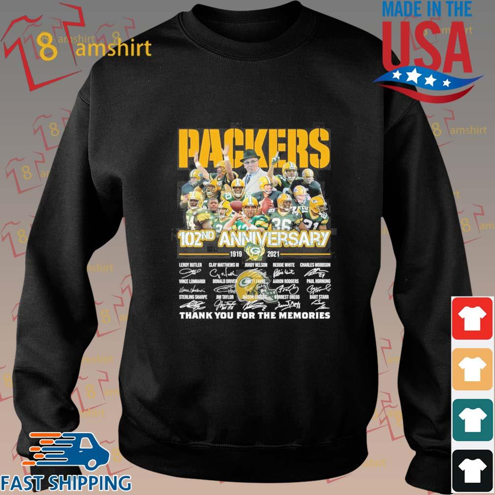 Green Bay Packers 102nd anniversary 1919 2021 thank you for the memories signatures tee s Sweater den