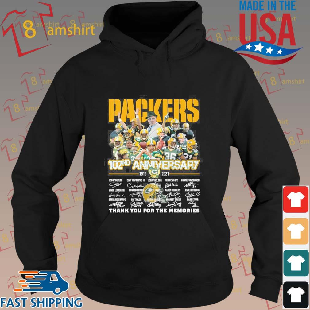 Green Bay Packers 102nd anniversary 1919 2021 thank you for the memories signatures tee s hoodie den