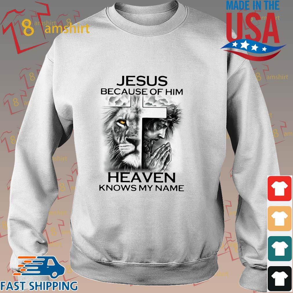 Lion Cross Jesus because of him heaven knows my name shirt