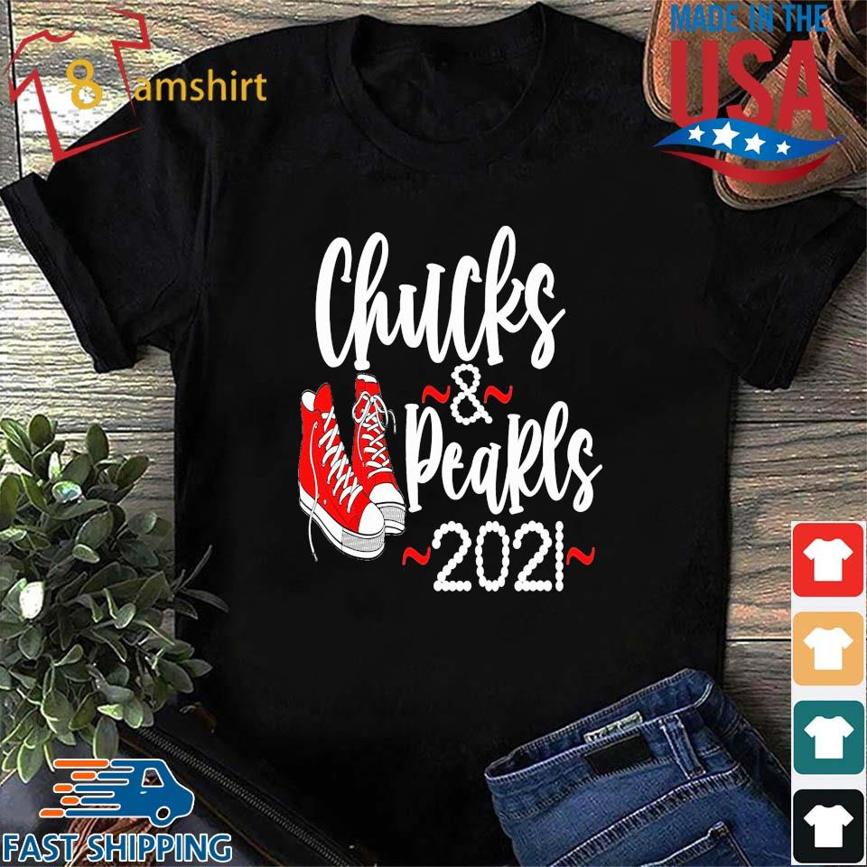 Red converse snacker Chucks and Pearls 2021 Kamala Harris shirt